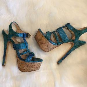 Sexy Snake Skin & Cork Platform Heeled Sandal 5.5